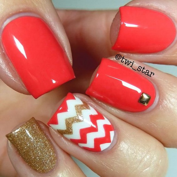 Bright Coral Chevron Vinyl Nail Art.