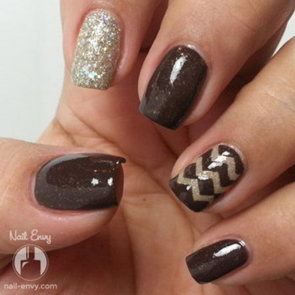Glittered Chocolate Brown Chevron Nail.