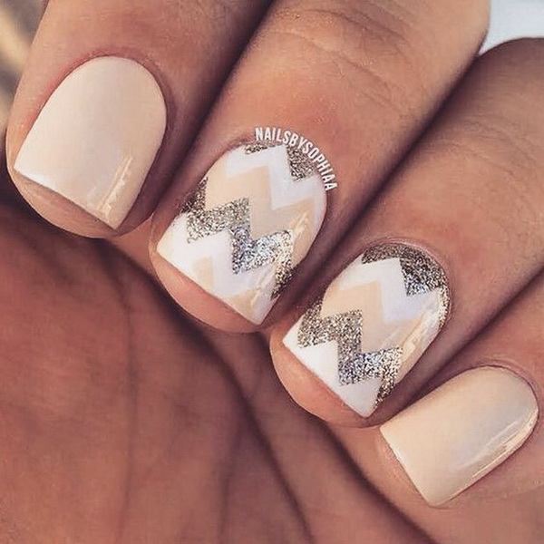 Nude and Silver Chevron for Short Nails.