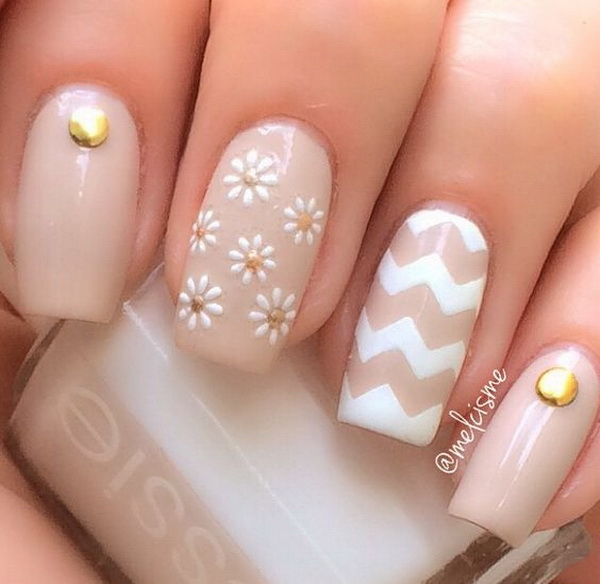 Chevron and Daisies on Nude Nail Polish.