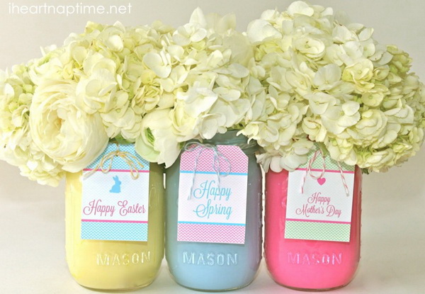 DIY Painted Mason Jar Flower Vase.