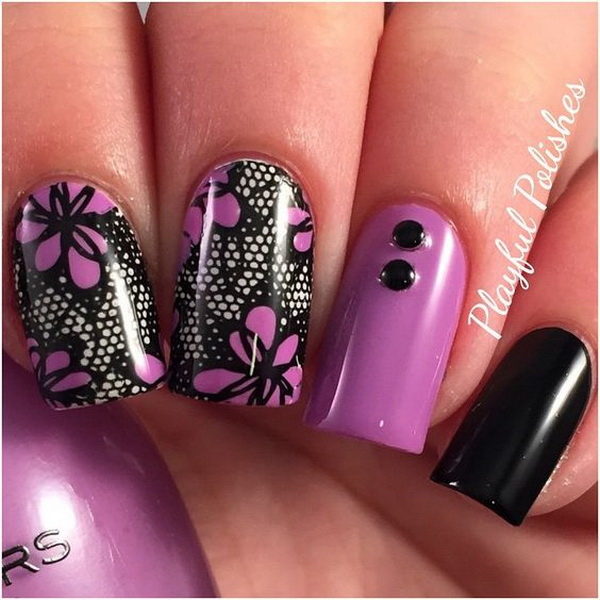 20 romantic lace nail designs for creative juice black and purple lace nail art design prinsesfo Choice Image