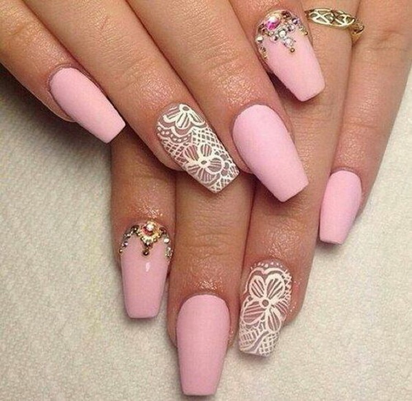 White and pink matte nails with lace details. - 20 Romantic Lace Nail Designs - For Creative Juice