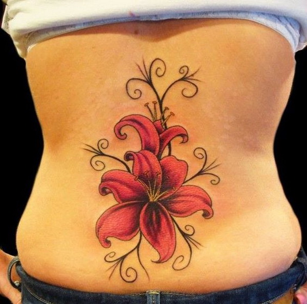 Lily Flower Lower Back Tattoo.
