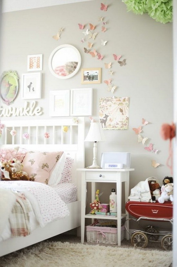 Light Pink And Grey Bedroom For Teenage Girls. Decorate The Wall With Paper  Butterflies In
