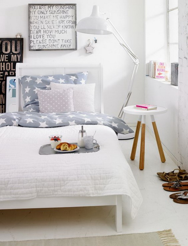 This bedroom is dreamy and calming. Simple but elegant, bright! Love the oversized lamp besides the bed...