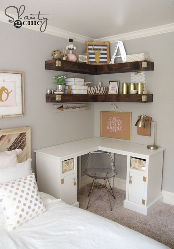 A Cute Bedroom With DIY Floating Corner Shelves
