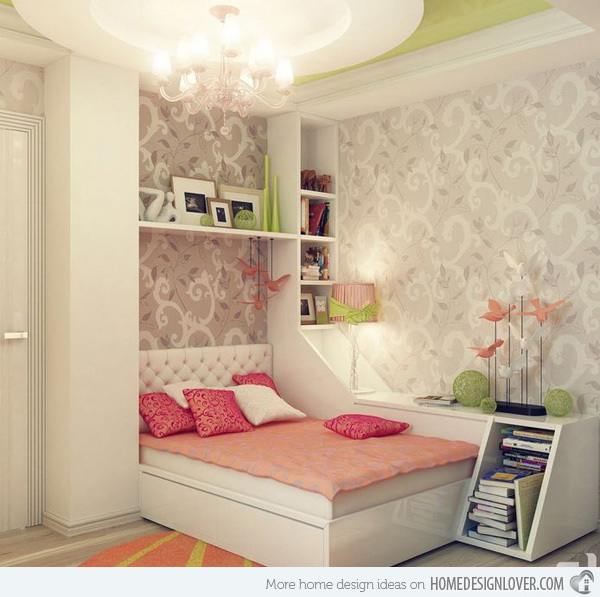 Chic and girly bedroom with soft-toned-colors. Love the pink lamp next to the bed, it is perfect for teens who love to read before sleeping.
