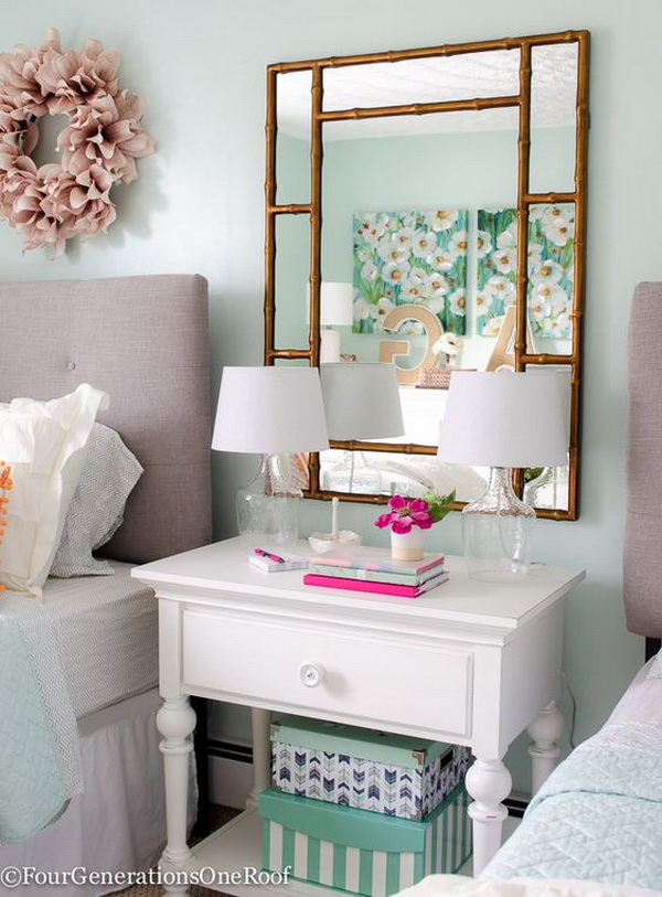 Girls bedroom makeover with bedding, lamps, headboard, dresser and night table. Gorgeous green, blush and blue color....