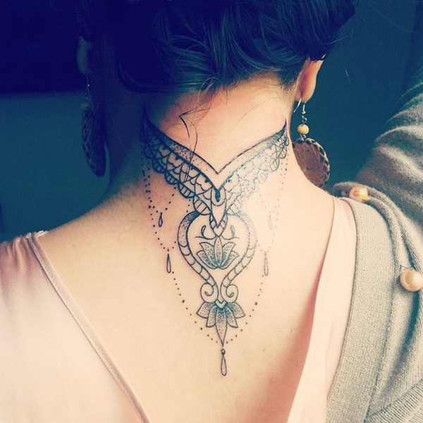 55 Attractive Back Of Neck Tattoo Designs For Creative Juice