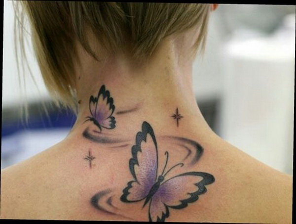 Flying Butterflies Tattoo On Back Of Neck.