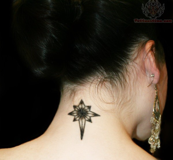 Compass Back of Neck Tattoo Design.