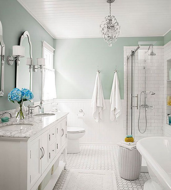 Stylish, Subtle And Stunning Color Combinations For This Bathroom Design:  Seafoam + Cottage White