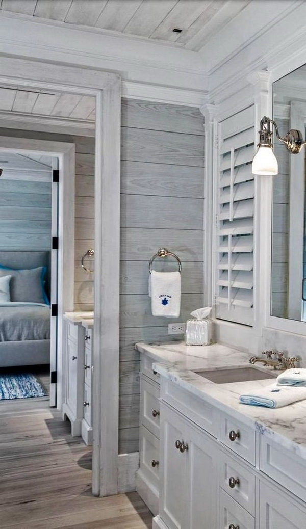 Beach Style Bathroom Design Inspiration! Love the vintage wood walls! Clean, calm and comfortable!