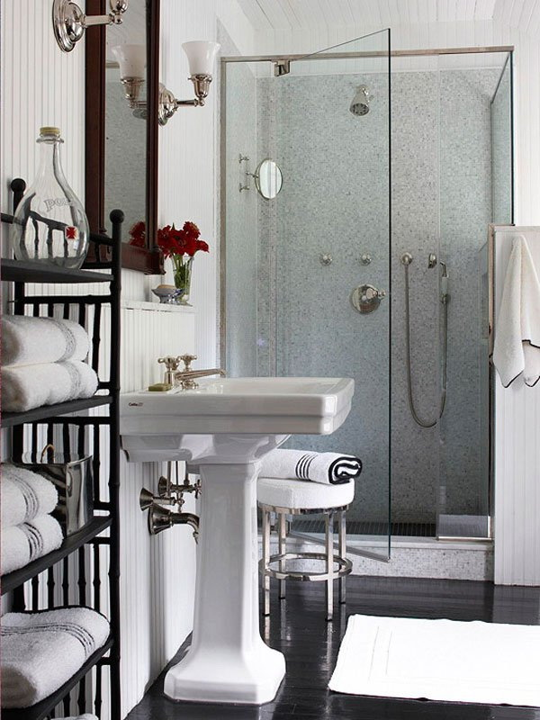 Contemporary Bathroom With Shower Room.
