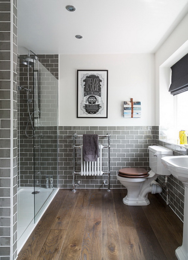 Grey metro tiled bathroom with a classic yet modern feel.