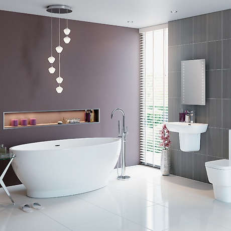 Modern white and purple bathroom with great layout..
