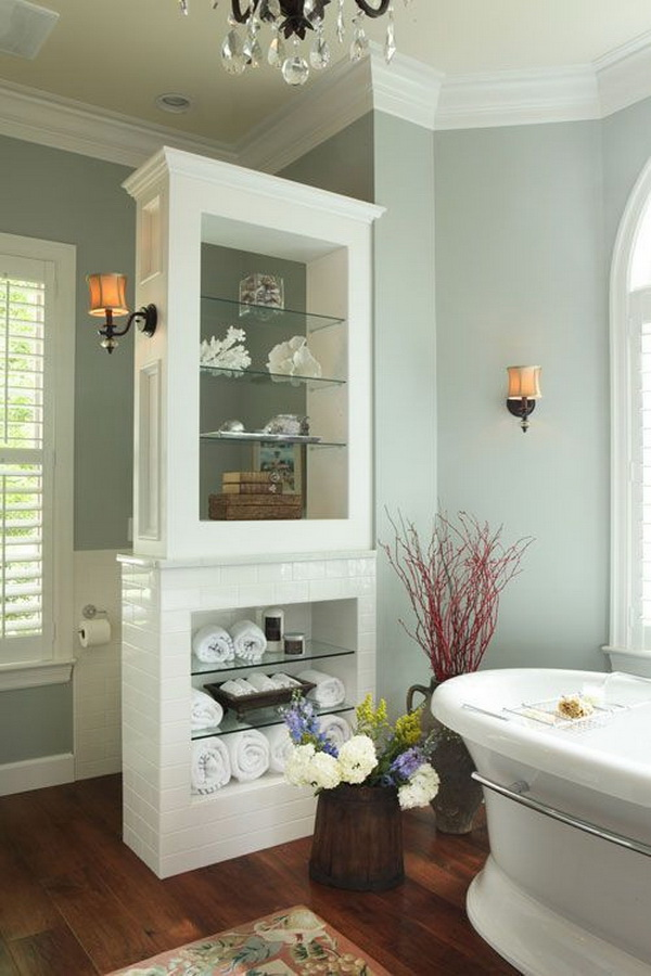 Storage divider in bathroom. It provides a great storage for bathroom items with easy access, like towels, cleaning products and more.