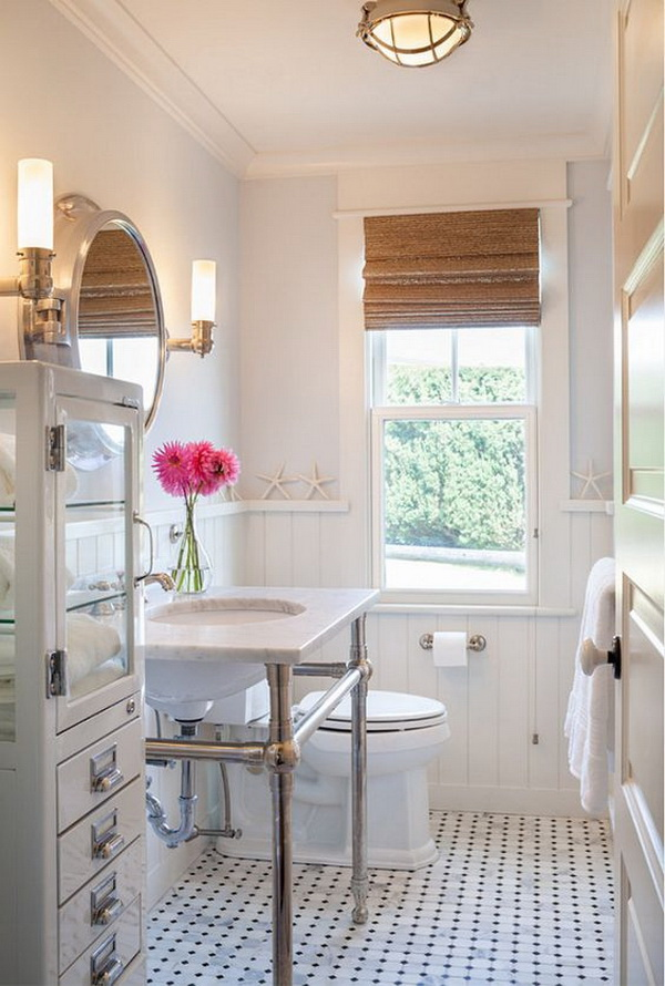 Gorgeous small bathroom design idea. The paint color for this bright and elegant bathroom is Sherwin Williams Mountain Air SW 6224.