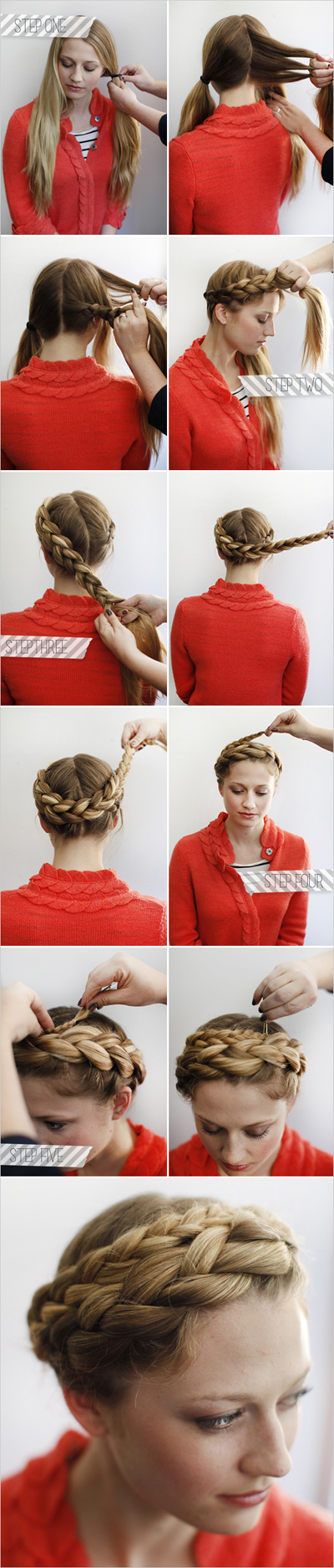 Halo Braided Hairstyle for Long Hair.