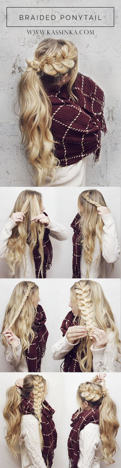 Braided Ponytail Hair Tutorial.