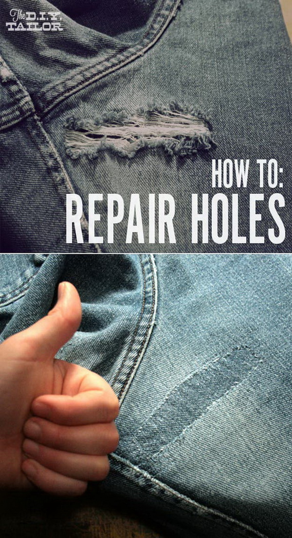 An Easy Way To Fix Holes In Your Jeans And Other Garments.