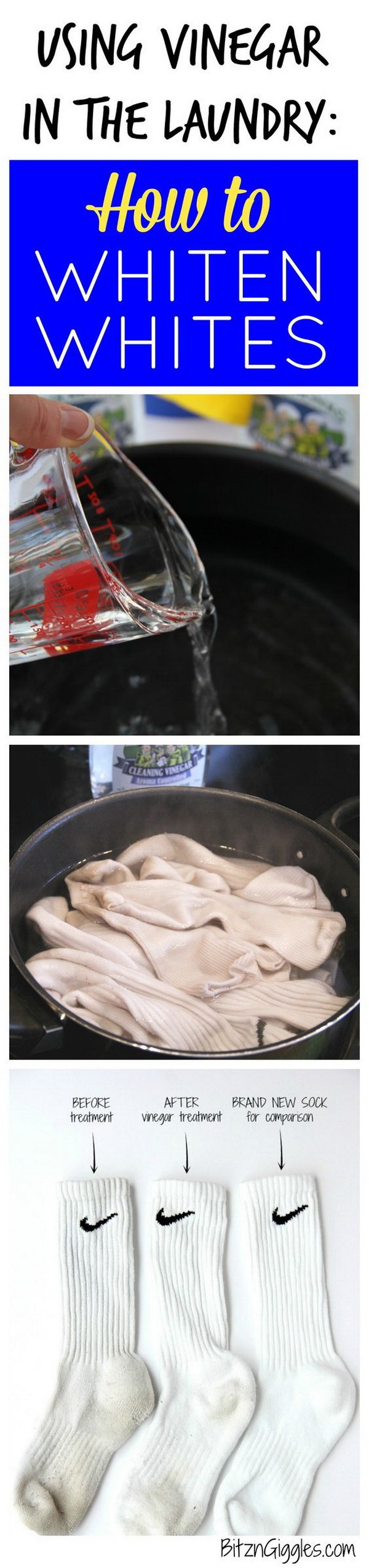 Using Vinegar in the Laundry to Whiten Whites: See how to use a natural cleaner to brighten dingy white socks and clothes.