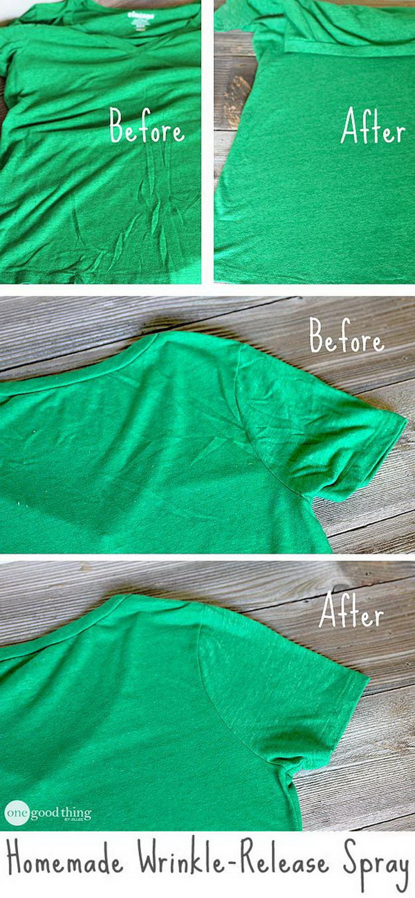 Homemade Wrinkle Release Spray: This spray is easy and cheap to make at home and helps a lot to eliminate wrinkles without ironing!