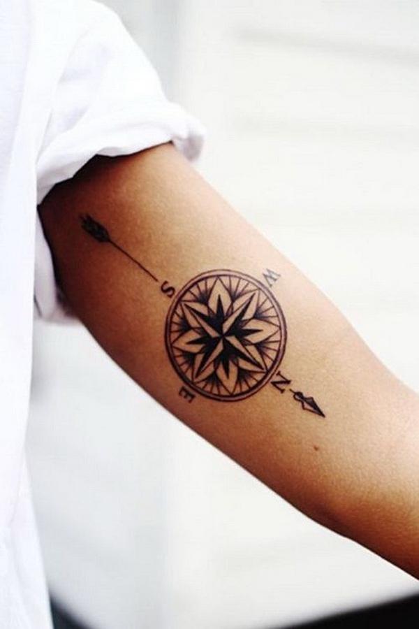 Compass Tattoo with Arrow on Arm.