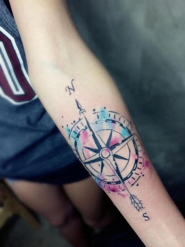 Watercolor Compass Tattoo on Arm.