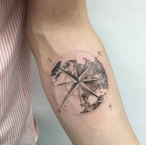 Nautical Globe Compass Tattoo.