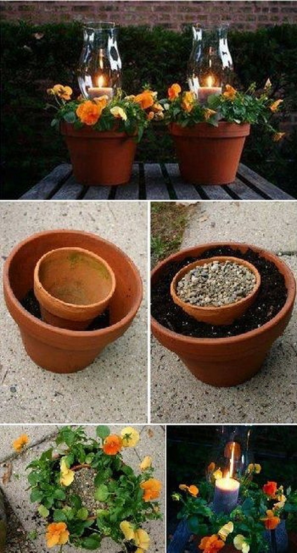 DIY Flower Pot Candle Holder.
