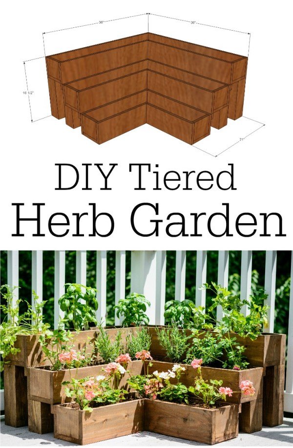 DIY Tiered Herb Garden: This herb garden is not so hard to make with a bit of woodworking skills and is great for small spaces and decks.