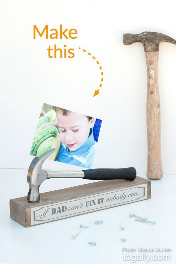DIY Hammer Photo Stand. Make a photo stand with a real mini-hammer and a wood base! This will be a perfect gift for your beloved father.
