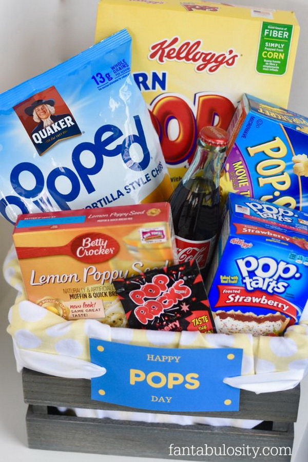 Happy Pops Father's Day Gift Basket with Free Printables.