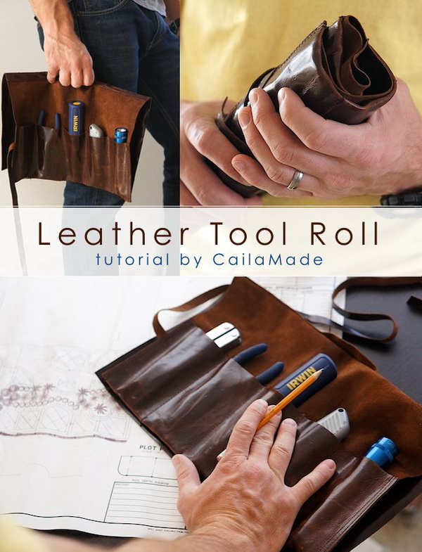 DIY Leather Tool Roll.