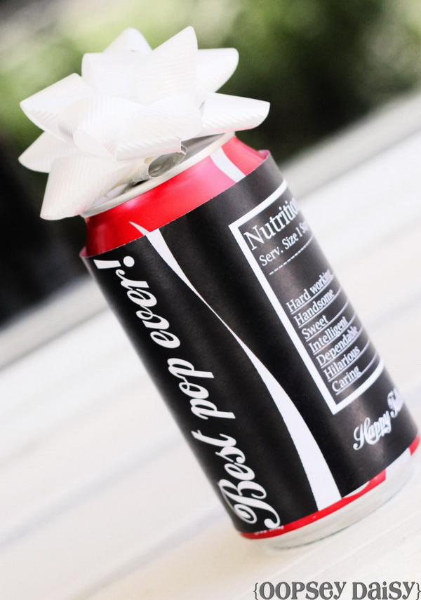 "Pop for ""Pop"" – Printable Coke Can Sleeve. Make your beverage gift more personalized and special with this coke can"