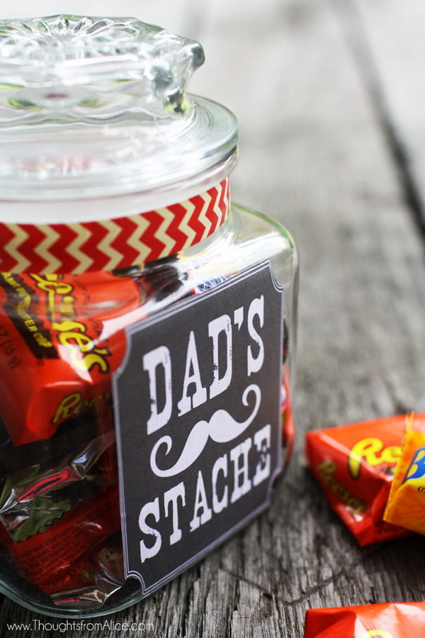 "Father's Day Gift Jar: ""Dad's Stache"" with Free Printable."