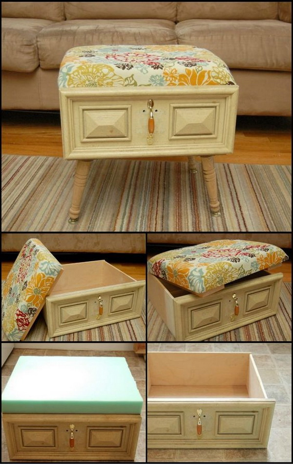 DIY Drawer Ottoman: Turn an old drawer into an ottoman for any room in your house! This ottoman is not only a great addition to the living room, but also provides a great storage for your photo albums, books or other belongings not used very frequently.