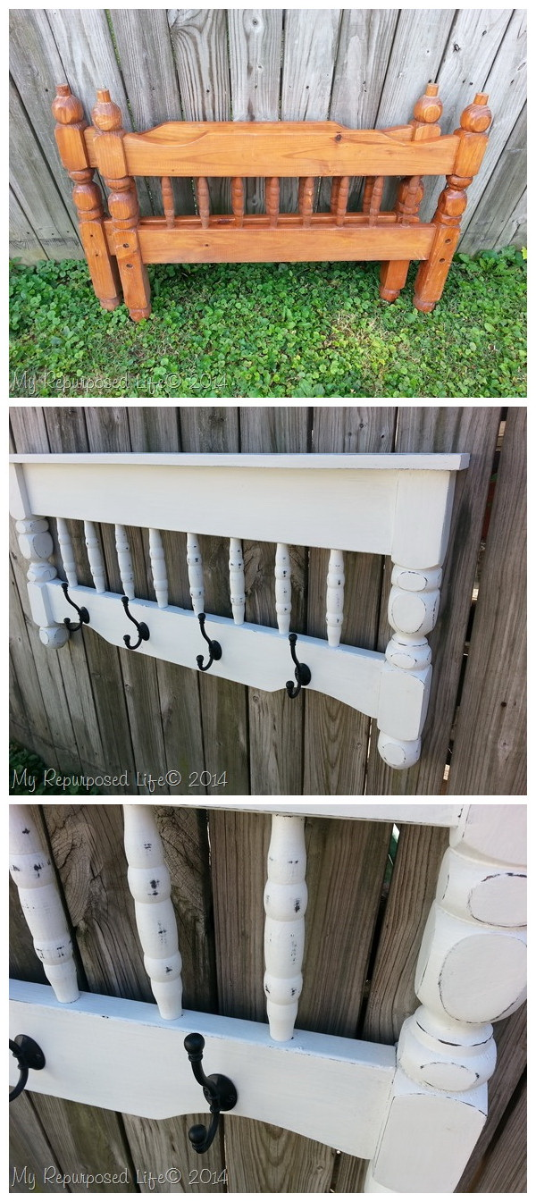 DIY Coat Rack Repurposed Bunk Bed: Repurpose a bunk bed into a small shelf and coat rack.