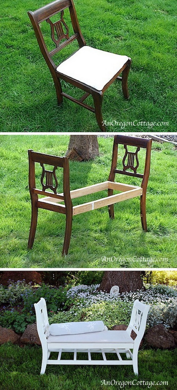 French-Style Bench From Old Chairs: Never throw away those old or broken dining room chairs, you can turn them into a cozy indoor or outdoor bench like this one.