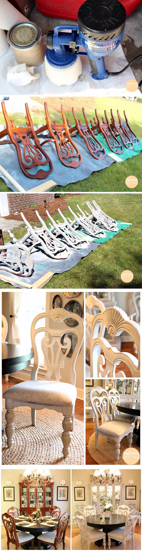 Spray Painted Dining Chairs Paint Furniture Makeover Turn The Old Ugly