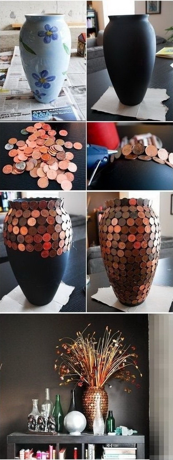 Elegant DIY Penny Vase: Turn worthless pennies into great DIY home decor! If you just want a small home decor addition, it is not wrong to go for this awesome DIY project!