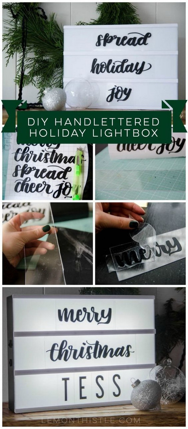 DIY Handlettered Holiday Lightbox. Add more handmade flair to your home decor with this easy and awesome DIY prject!
