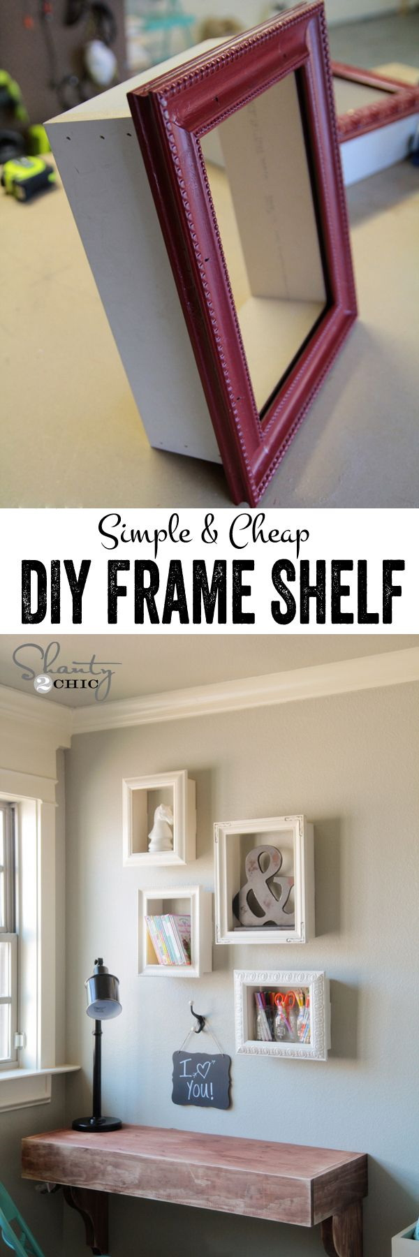 DIY Frames for Wall Decor:  Turn the simple frames from the local thrift store into these expensive frames by attaching wood to all sides and hang on wall. Low budget with high impact DIY project for your home decor!