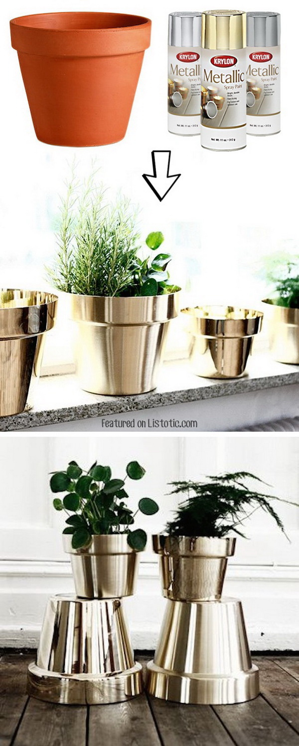 DIY Metallic Flower Pots & 17 Creative Ideas to Decorate with Terra Cotta Flower Pots - For ...