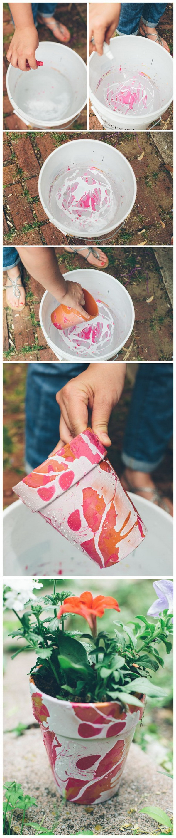 DIY Nail Polish Marbled Planters.
