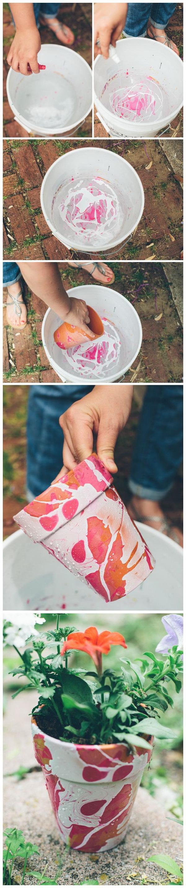 DIY Nail Polish Marbled Planters.