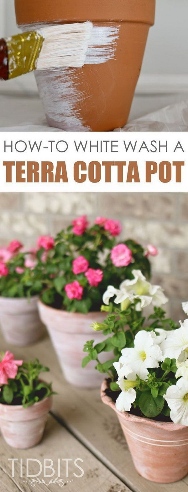 DIY Whitewashed Terra Cotta Pots.