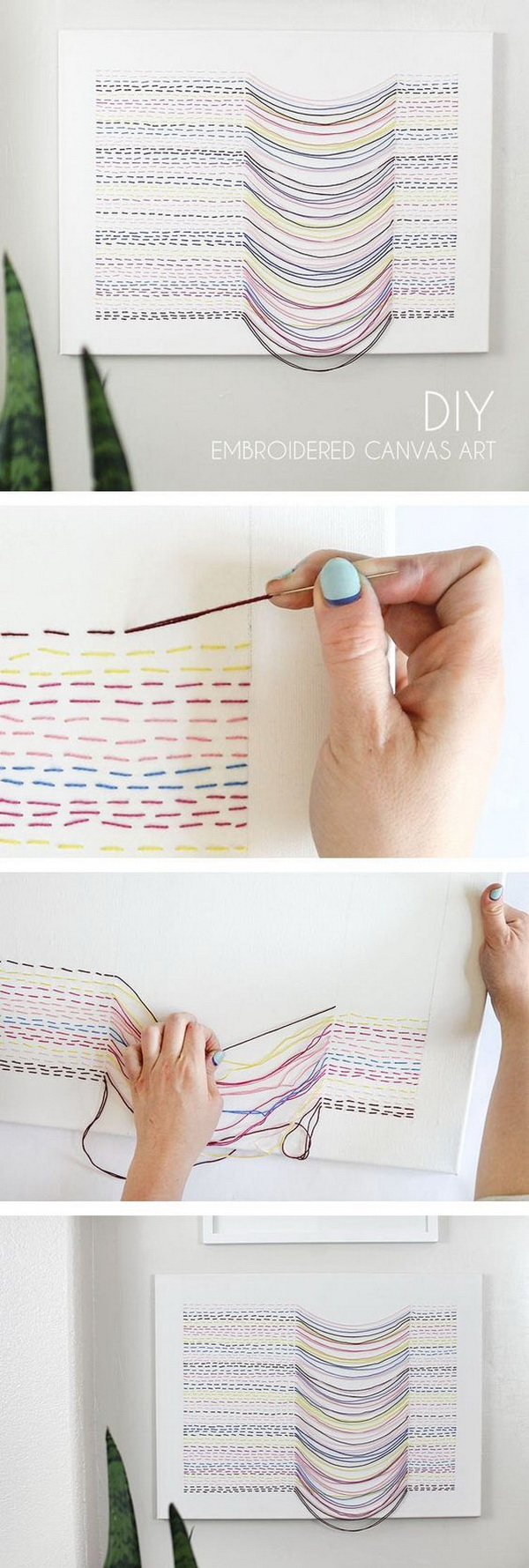 DIY Embroidered Canvas Wall Art.